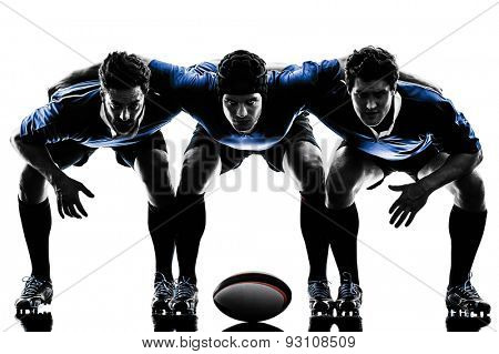 one caucasian rugby men players  in studio  silhouette isolated on white background