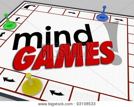 Mind Games words on a board game to illustrate pscyhology, behavior, tricks, psychology and emotion in interaction with others