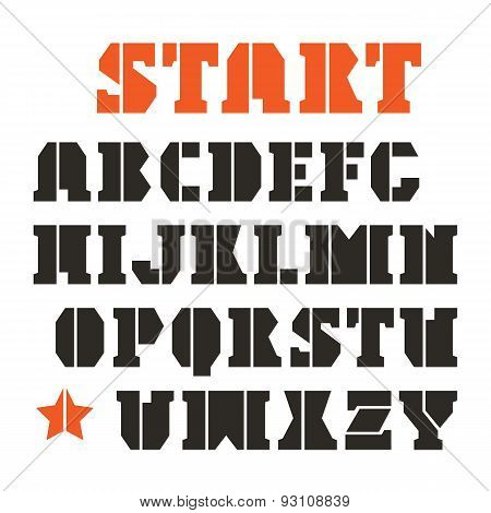 Serif Stencil-plate Font In Geometric Style
