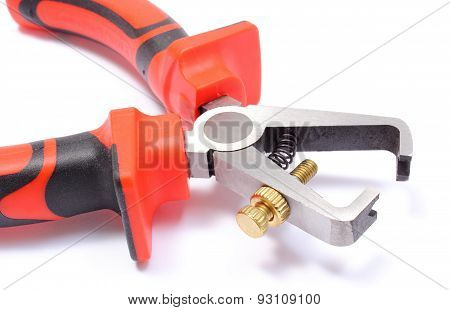Closeup Of Insulation Stripper On White Background