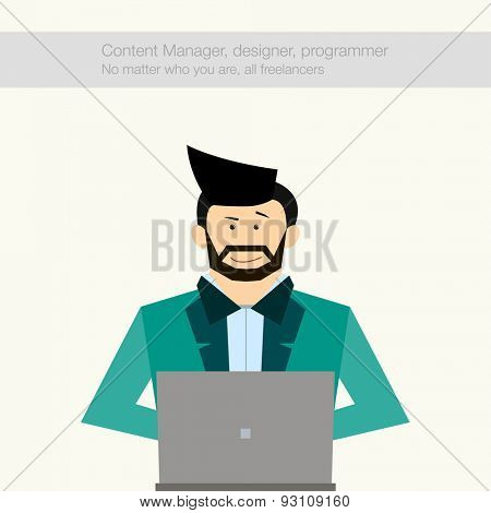 Freelancer hipstor sitting working at a laptop. trendy guy with a beard. Flat design lifestyle concept of handsome man sitting at the desk and working on laptop in the office