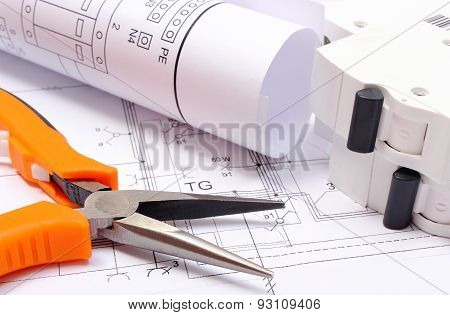 Electrical Diagrams, Electric Fuse And Work Tools On Construction Drawing Of House