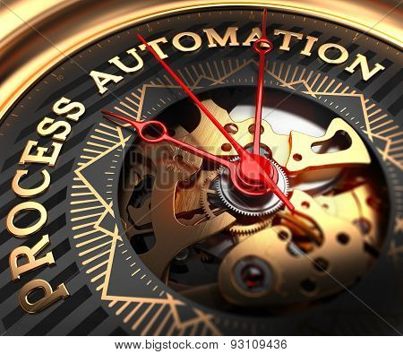 Process Automation on Black-Golden Watch Face.