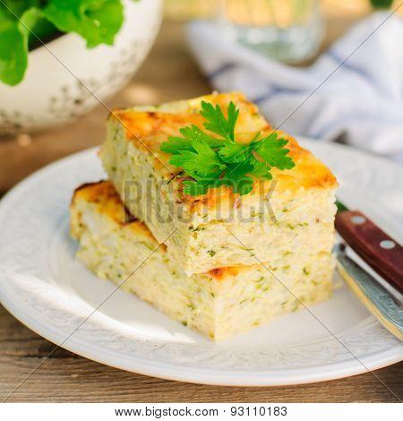 Zucchini Rice Slice With Cheese