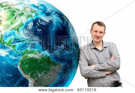 Man Of Leaning On Huge Earth Planet On A White Background.