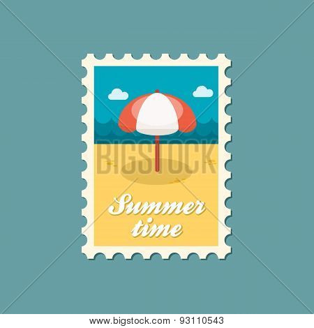 Beach Parasol Flat Stamp, Summertime