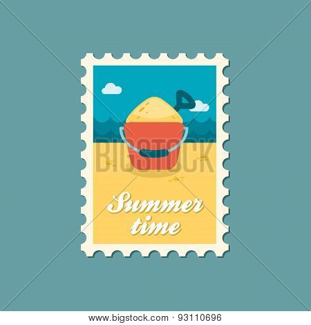 Sand Bucket And Shovel Flat Stamp, Summertime