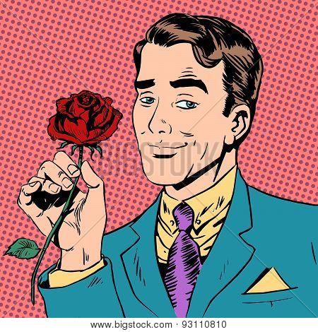 man flower Dating love meeting art pop retro vintage