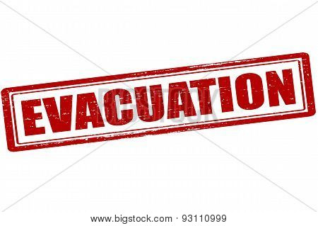 Rubber stamp with word evacuation inside vector illustration