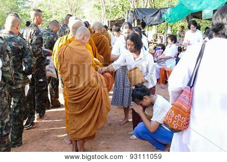 People Put Food Offering To Buddhist Monk Alms Bowl Which Is The Traditional Culture Of Buddhist Peo