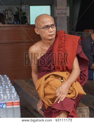 Burmese Buddhist Monk In Mandalay