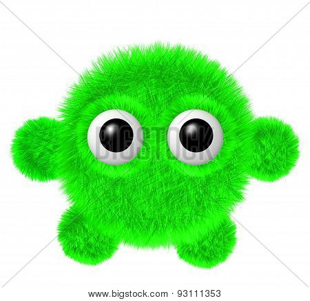 Little green furry monster with arms and legs. Fluffy character with big eyes.