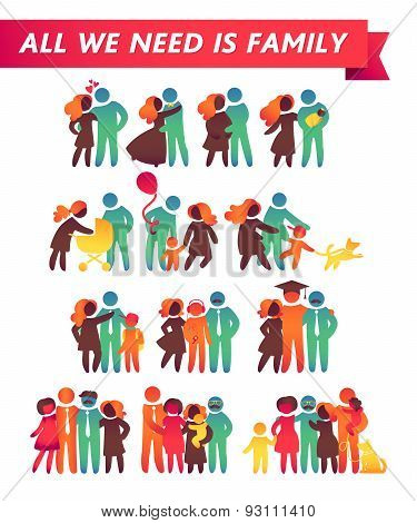 Happy Family Icon Multicolored Set In Simple Figures. Children, Dad And Mom Stand Together. Vector C