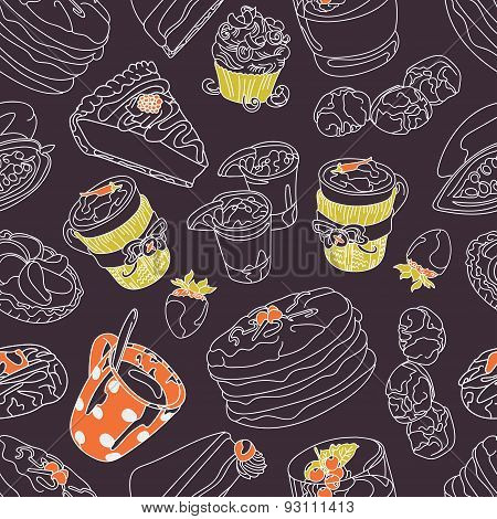 Chocolate. Cocoa. Vector seamless illustration (texture), which shows the hot chocolate, cocoa beans