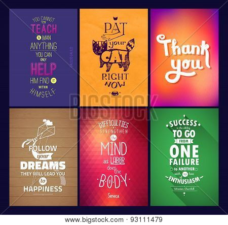 Typographical Background Illustration Quote Pack. Motivation square poster. Text lettering of an ins