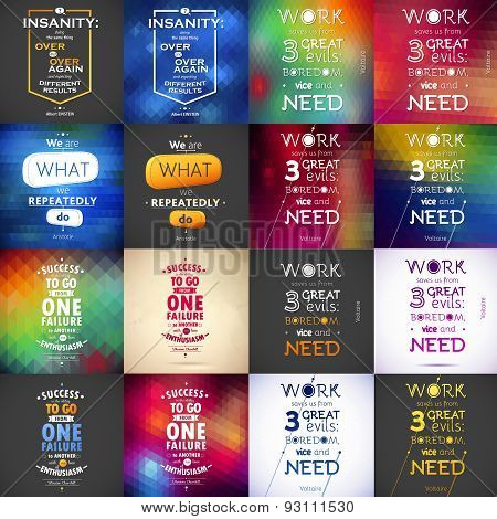 Typographical Background Illustration Quote Pack. Motivation poster. Text lettering of an ins