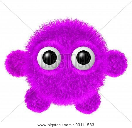 Little magenta furry monster with arms and legs. Fluffy character with big eyes.