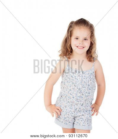 Cute little girl with three year old looking at camera on a white background