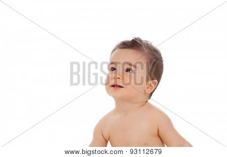 Nice baby looking at up isolated on a white background