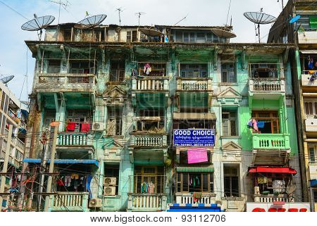 Old Residential Building In Yangon, Myanmar