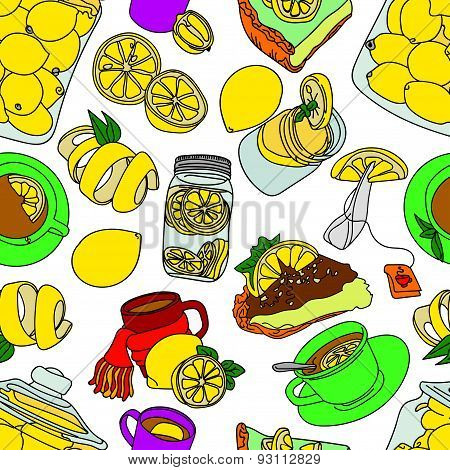Lemon. Sweets. Desserts. Tea. Vector illustration with the image of sweets, lemons. Bright picture.