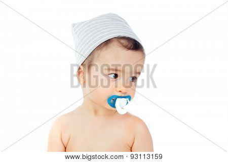 Nice baby with grey cap and pacifier isolated on a white background