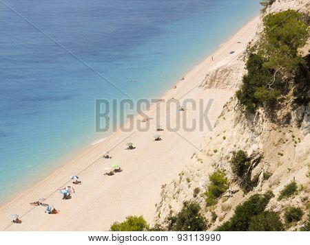 Top view of Egremni exotic beach in Lefkada Greece.
