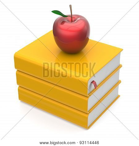 Books Yellow Apple Red Textbooks Bookmark Stack Icon
