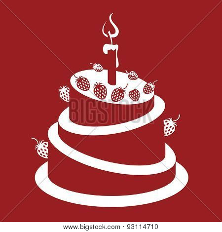 design of strawberry cake on a red background