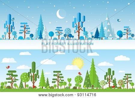 Flat vector forest illustration, winter, spring, summer