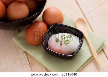 Boiled Eggs For Breakfast On Wooden Table.