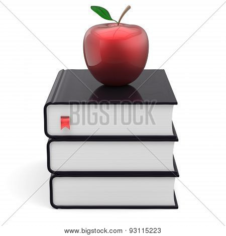Books Black And Red Apple Bookmark Textbook Stack Wisdom