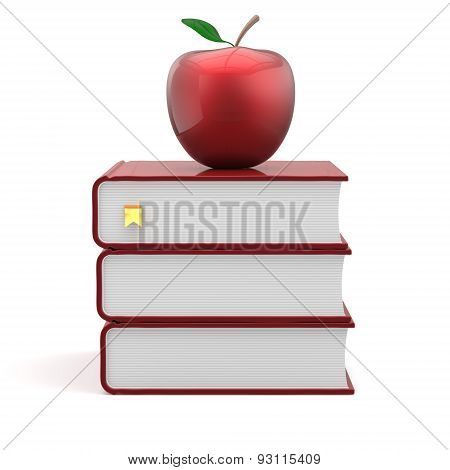 Red Apple And Books Bookmark Blank Textbook School Icon