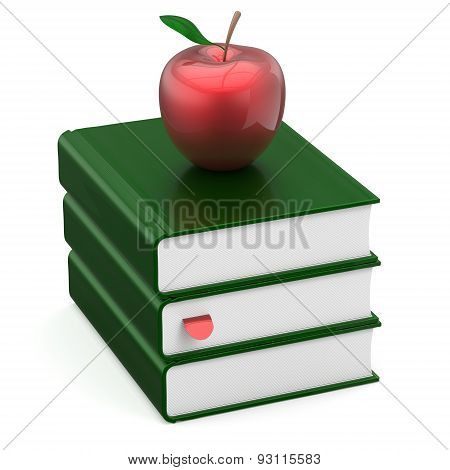 Textbook Stack Green Blank Books Red Apple College Icon