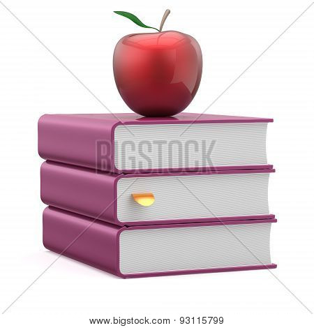Books Purple And Red Apple Blank Stack Reading Wisdom Icon