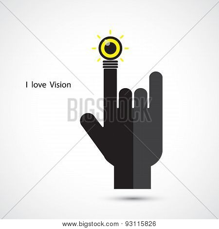 Creative Light Bulb And Hand Icon Abstract Vector Design. I Love Vision Concept. Corporate Business