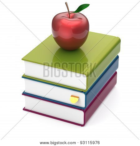 Books Three Multicolor And Red Apple Textbook Stack Reading