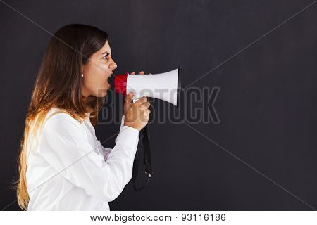 Woman with a loudspeaker