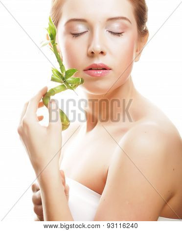 beautiful woman with bamboo
