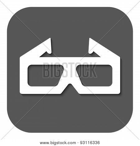 The 3D Movie Icon. 3D Glasses Symbol. Flat