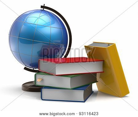 Book Stack Textbooks Globe Blank Colorful Global Knowledge
