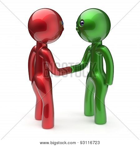 Two Men Shaking Hand Cartoon Characters Handshake Icon