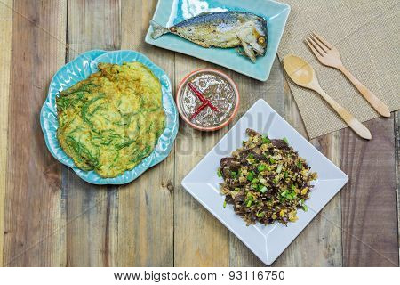 Local Thai Foods, Mushrooms Fried Egg, Fried Tuna , Shrimp Paste Chili Sauce, Omelet