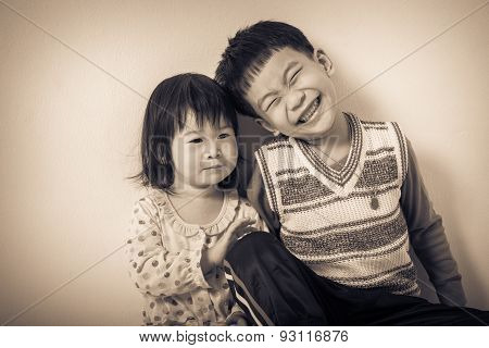 Little Asian (thai) Children Happily