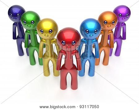 Teamwork Cartoon Characters Men Crowd Individuality Icon