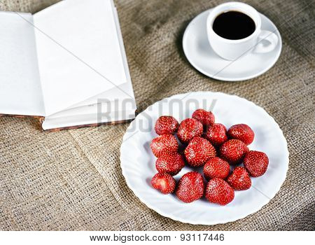 Fresh Strawberries And Coffee - Top View
