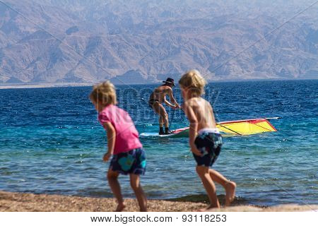Beach In Eilat On The Red Sea.