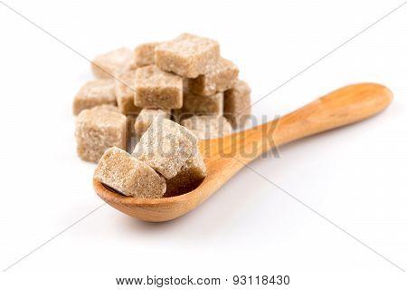 Brown Sugar In A Wooden Spoon