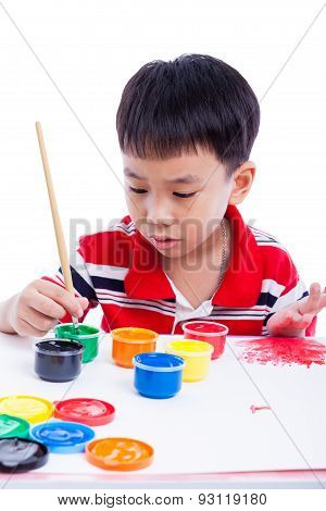 Asian Boy Draw Image Using Drawing Instruments, Creativity Concept, Isolated On White