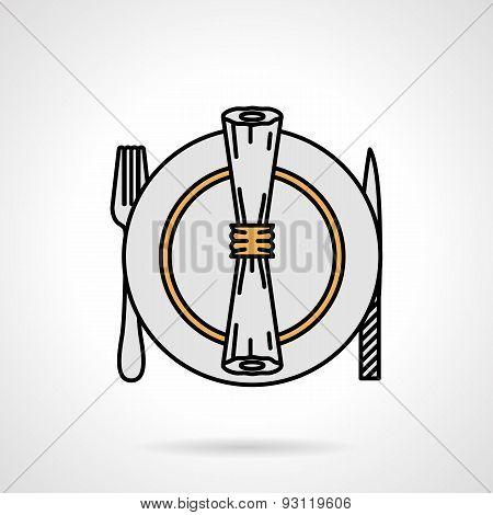 Tableware flat color vector icon